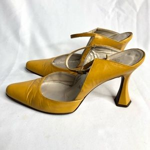 Vintage Christian Dior Yellow Leather Pointed Heel
